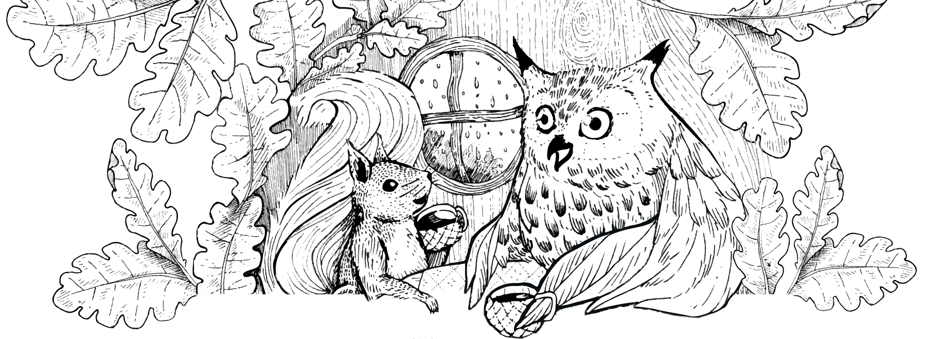 Squirrel and Owl conversing over tea